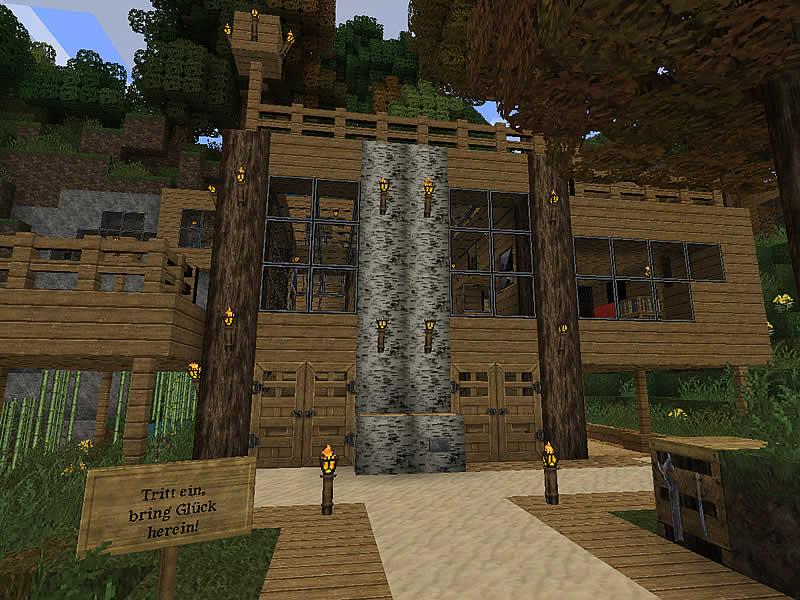 Minecraft moderner brunnen haus modern bauen design avec for Wohnhaus bauen