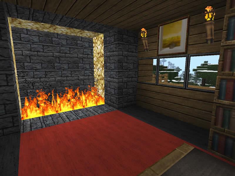 Pin bild feuer kamin brennholz on pinterest - Minecraft schlafzimmer ...